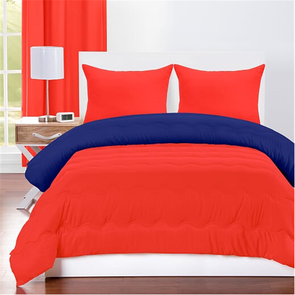 SIS Covers Crayola Full/Queen Reversible Comforter Set in Sunset Orange and Blue Berry Blue