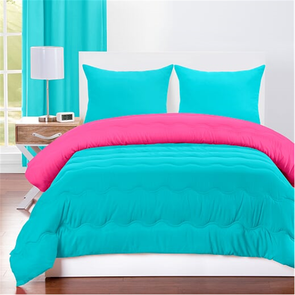 SIS Covers Crayola Full/Queen Reversible Comforter Set in Turquoise Blue and Hot Magenta