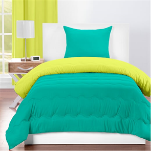 SIS Covers Crayola Twin Reversible Comforter Set in Blue Green and Granny Smith Apple