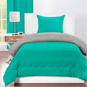 SIS Covers Crayola Twin Reversible Comforter Set in Blue Green and Timberwolf