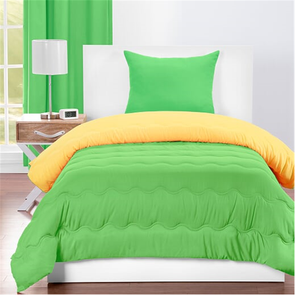 SIS Covers Crayola Twin Reversible Comforter Set in Jungle Green and Laser Lemon