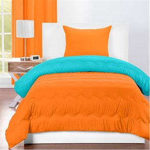 SIS Covers Crayola Twin Reversible Comforter Set in Outrageous Orange and Turquoise Blue