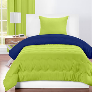 SIS Covers Crayola Twin Reversible Comforter Set in Spring Green and Blue Berry Blue