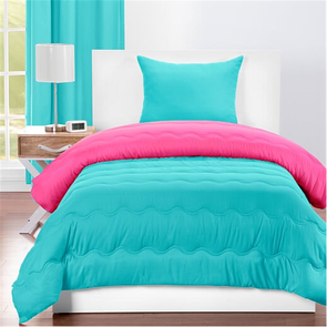 SIS Covers Crayola Twin Reversible Comforter Set in Turquoise Blue and Hot Magenta