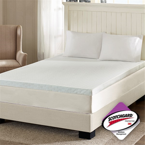 Sleep Philosophy 3 Inch Memory Foam Queen Mattress Topper with 3M Moisture Management in White by JLA Home