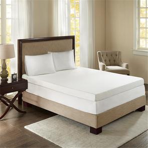 Sleep Philosophy 4 Inch Memory Foam Twin Mattress Topper in White by JLA Home