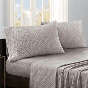 Sleep Philosophy Micro Fleece Full Sheet Set in Grey Diamond by JLA Home