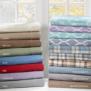Sleep Philosophy Micro Fleece Full Sheet Set in Grey Ogee by JLA Home