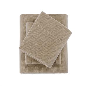 Sleep Philosophy Micro Fleece Full Sheet Set in Khaki by JLA Home