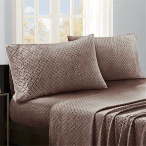 Sleep Philosophy Micro Fleece King Sheet Set in Brown Diamond by JLA Home