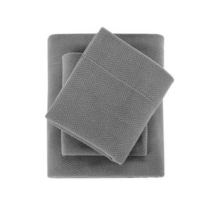Sleep Philosophy Micro Fleece King Sheet Set in Grey by JLA Home