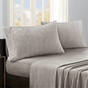 Sleep Philosophy Micro Fleece King Sheet Set in Grey Diamond by JLA Home