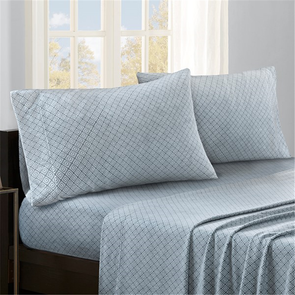 Sleep Philosophy Micro Fleece Queen Sheet Set in Blue Diamond by JLA Home