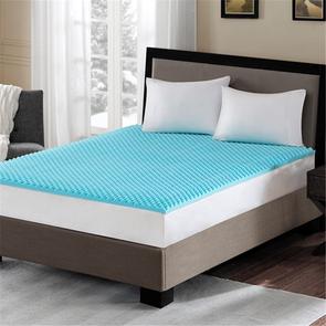 Sleep Philosophy Reversible 1.5 Inch Gel Memory Foam California King Cooling Mattress Topper in Blue by JLA Home