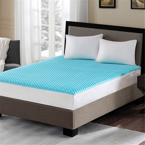 Sleep Philosophy Reversible 1.5 Inch Gel Memory Foam Twin Extra Large Cooling Mattress Topper in Blue by JLA Home