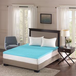 Sleep Philosophy Reversible 3 Inch Gel Memory Foam Full Cooling Mattress Topper in Blue by JLA Home