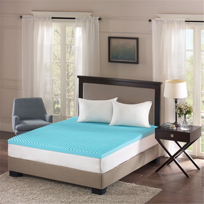 Sleep Philosophy Reversible 3 Inch Gel Memory Foam King Cooling Mattress Topper in Blue by JLA Home