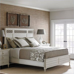 Stanley Cypress Grove King Size Wood Panel Bed in Parchment