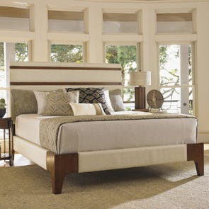 Tommy Bahama Island Fusion Mandarin Cal King Size Upholstered Panel Bed