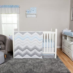 Trend Lab Blue Taffy Chevron 3 Piece Crib Set
