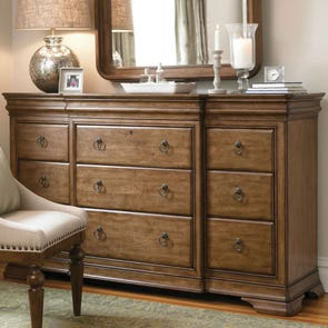 Universal Furniture Great Rooms Pennsylvania House New Lou Drawer Dresser in Cognac