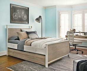 Universal Smartstuff #myRoom Full Size Panel Bed with Trundle in Gray and Parchment