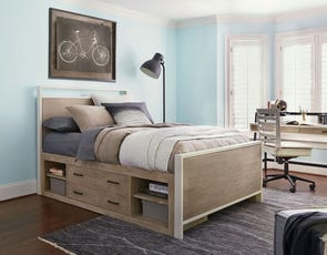 Universal Smartstuff #myRoom Full Size Panel Storage Bed in Gray and Parchment