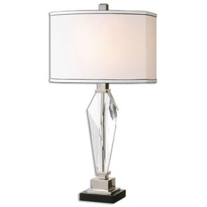 Surya Wilson Table Lamp with Yellow Print Shade