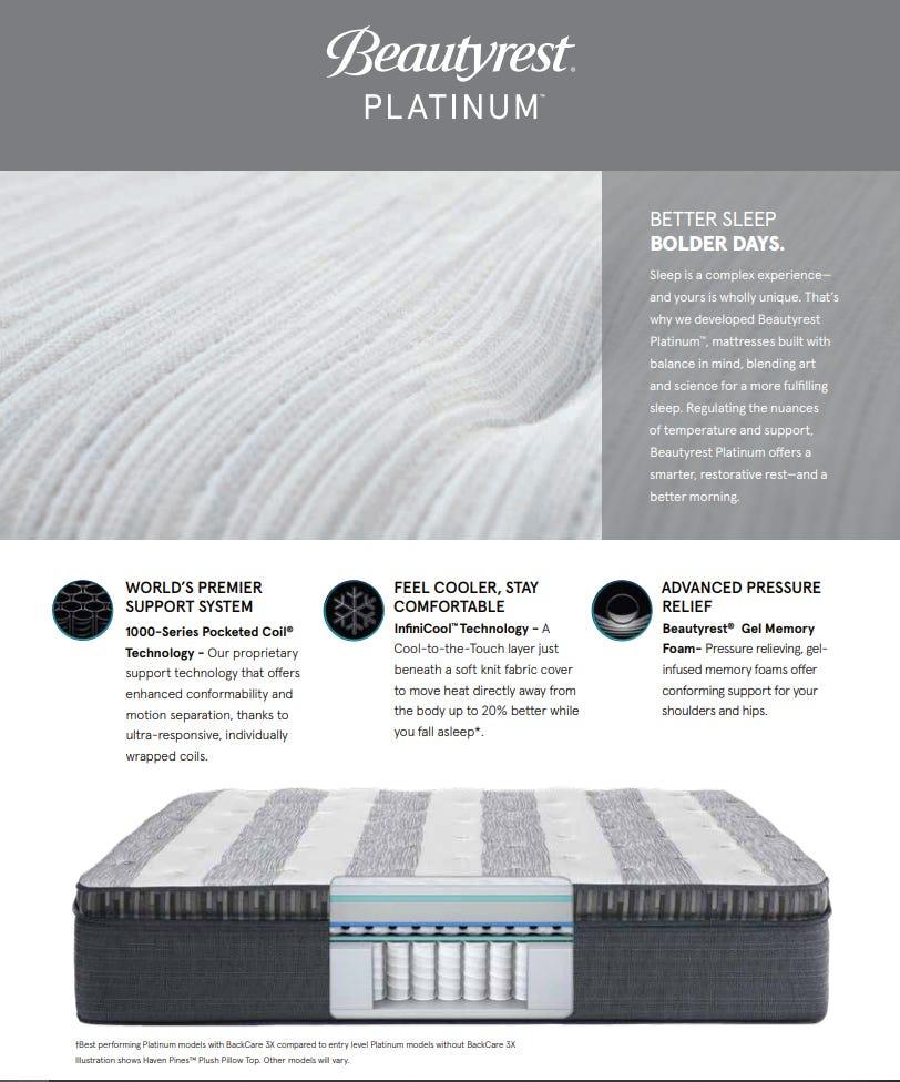 Beautyrest Platinum details sheet