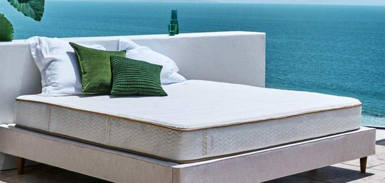 Zenhaven mattress near an ocean view