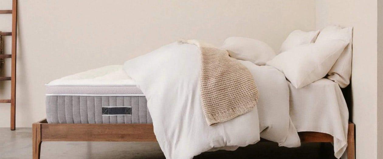 Awara mattress set up on a bed frame