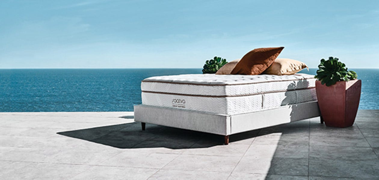 Saatva mattress near an ocean view