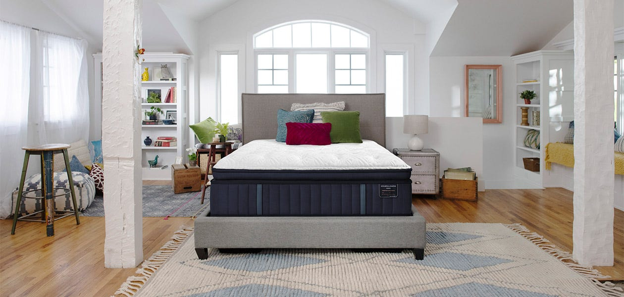 Stearns & Foster bed in a white bedroom