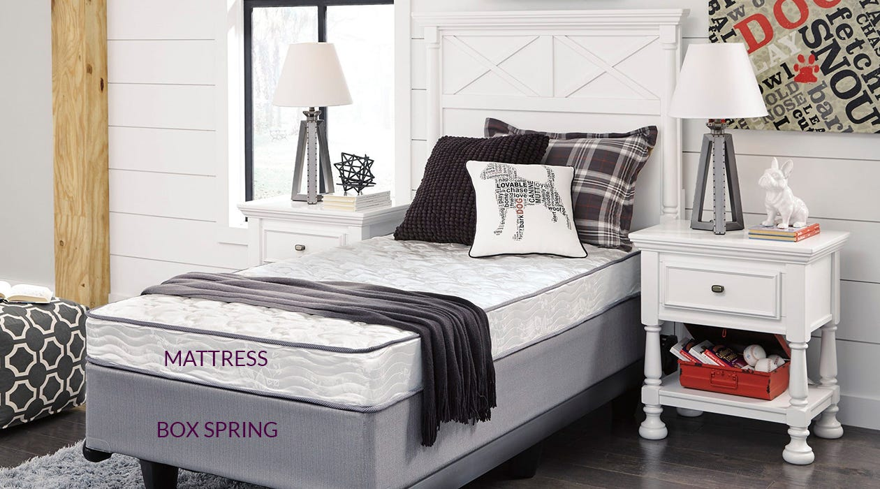 Ashley Sierra mattress on a gray box spring in a decorated bedroom. The mattress and box spring are labeled.
