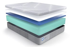 Cutaway of a Sealy mattress with a foam core
